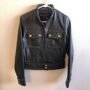 Kenneth Cole Reaction Cropped Leather Jacket